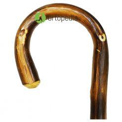 Дървен бастун стабилен с извита дръжка
